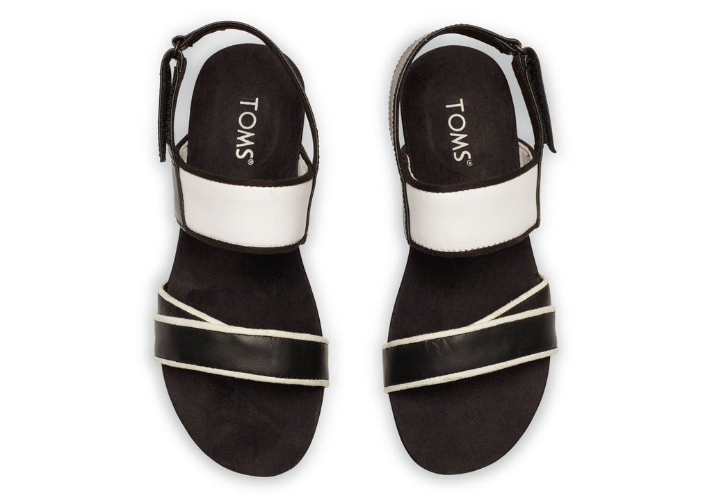 BLACK AND WHITE LEATHER WOMEN'S TIERRA SANDAL