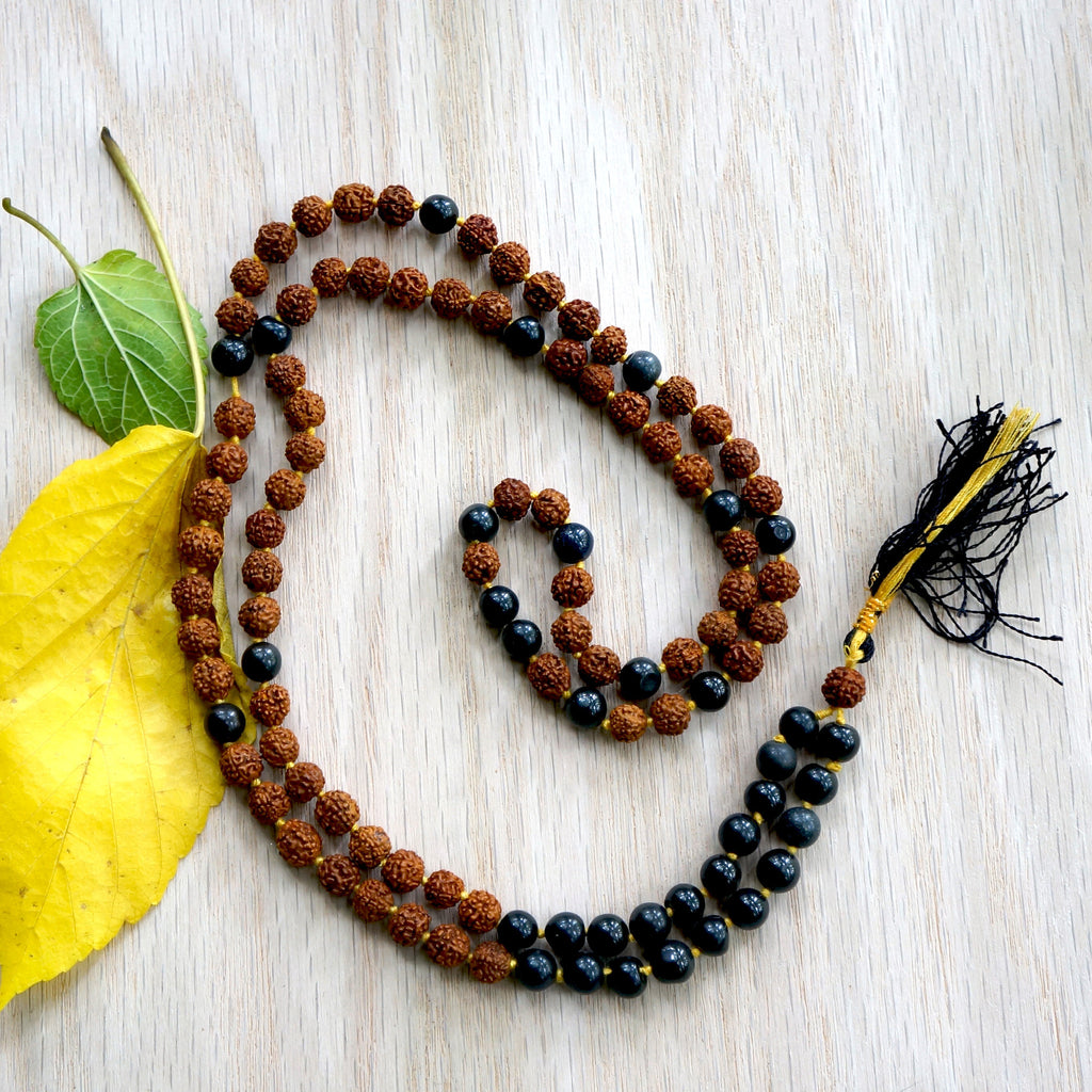 ONYX RUDRAKSHA STONE MALA - are a source of good luck and good health.