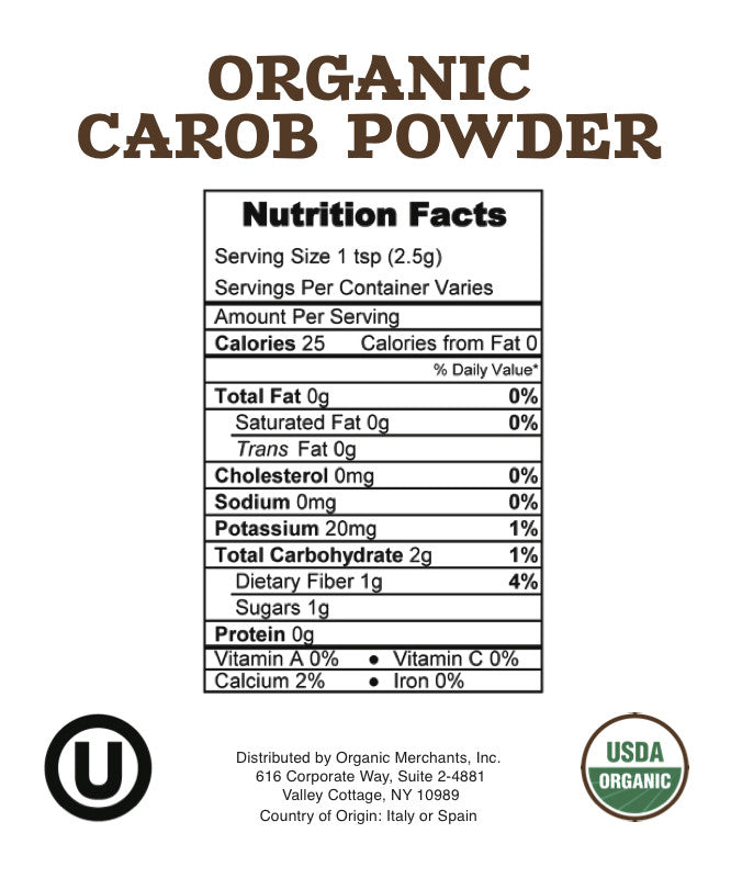 Organic Carob Powder - 55lb Bag - Kosher, NON GMO, Vegan