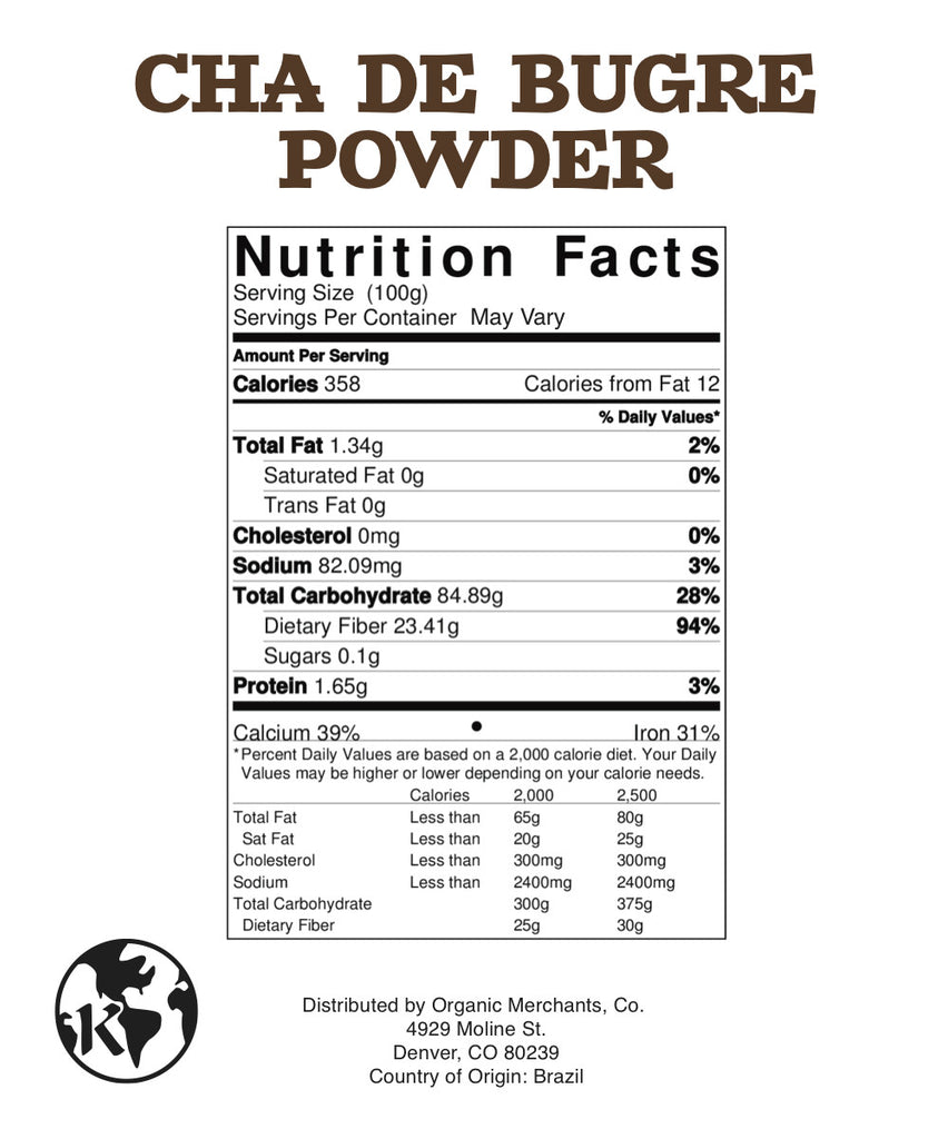 Natural Cha De Bugre Powder - 1lb Bag - Kosher, NON GMO, Gluten Free, Vegan - SustainTheFuture.us - The Natural and Organic Way of Life