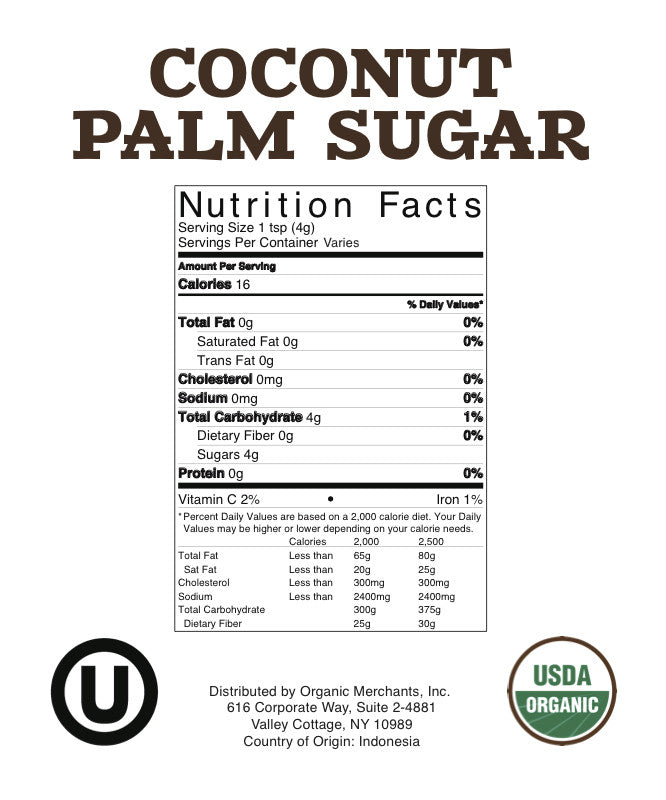 Organic Coconut Palm Sugar - 55lb Bag - Kosher, NON GMO, Gluten Free