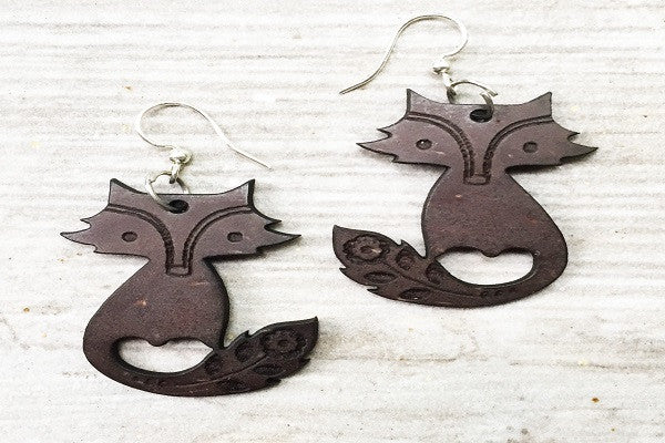 COCONUT SHEEP EARRINGS - are made with recycled coconut shells - SustainTheFuture.us - The Natural and Organic Way of Life