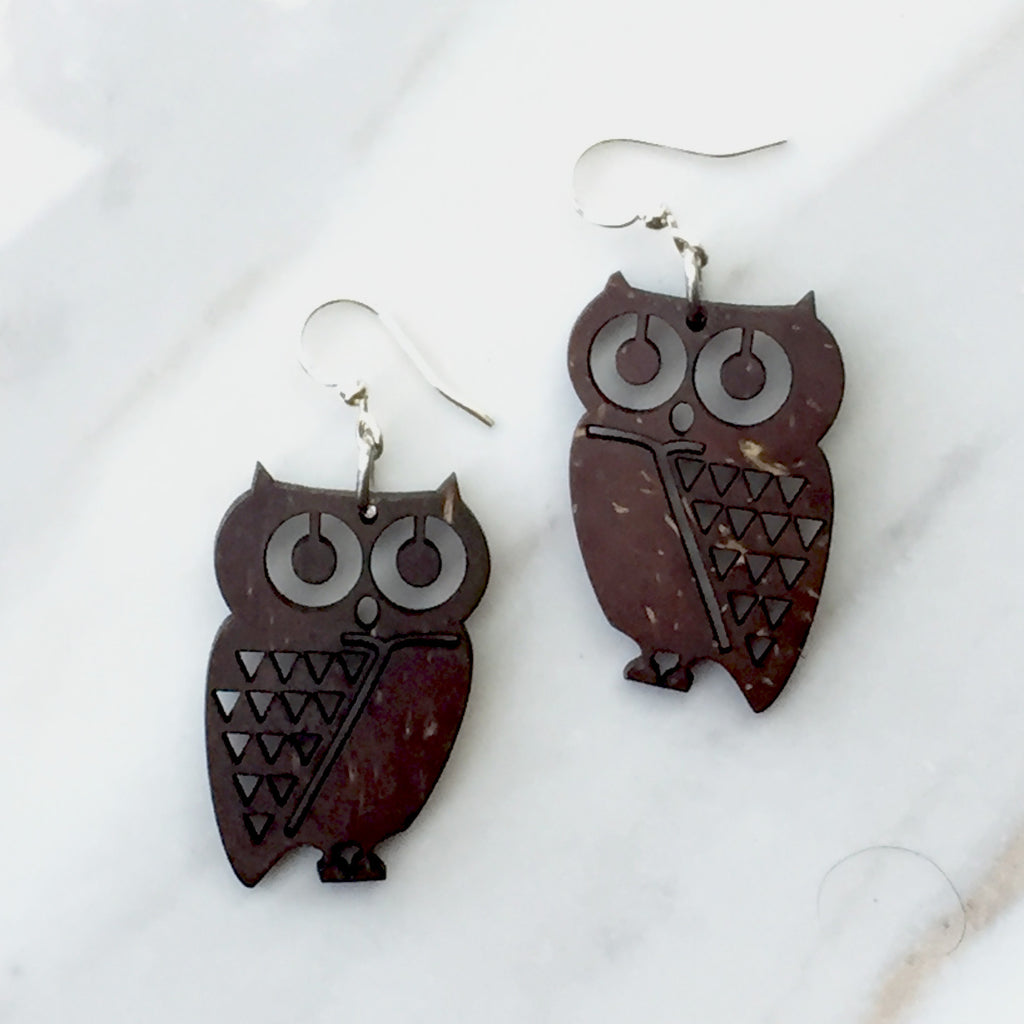Coconut Owl Earrings - recycled coconut shells.