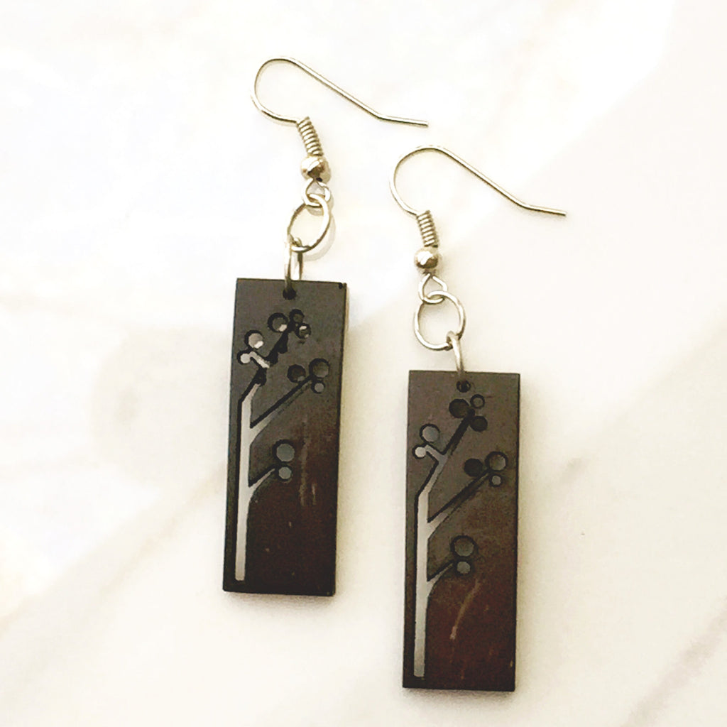 Coconut Rectangular Earrings. made with recycled coconut shells
