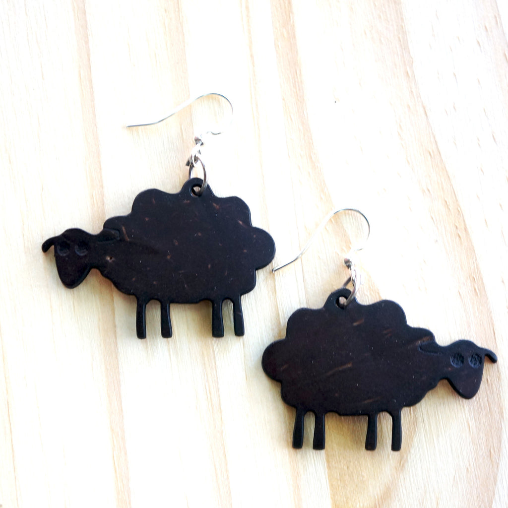 COCONUT SHEEP EARRINGS - are made with recycled coconut shells