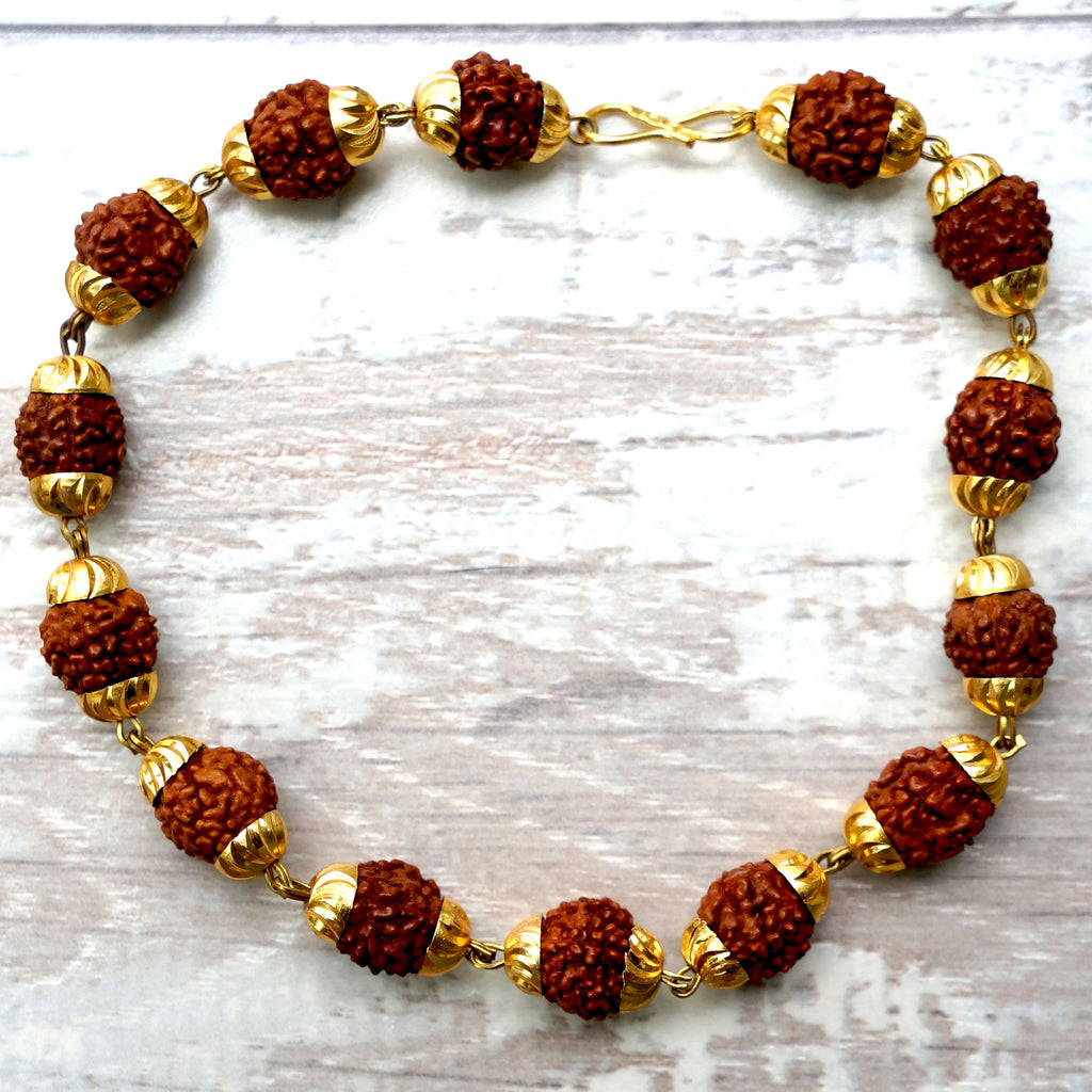 GOLD RUDRAKSHA BRACELET. made of gold plated metal and rudraksha seeds - SustainTheFuture.us - The Natural and Organic Way of Life