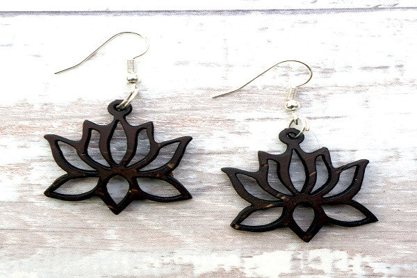 COCONUT YOGA LOTUS EARRINGS. Super light weight and unique. - SustainTheFuture.us - The Natural and Organic Way of Life