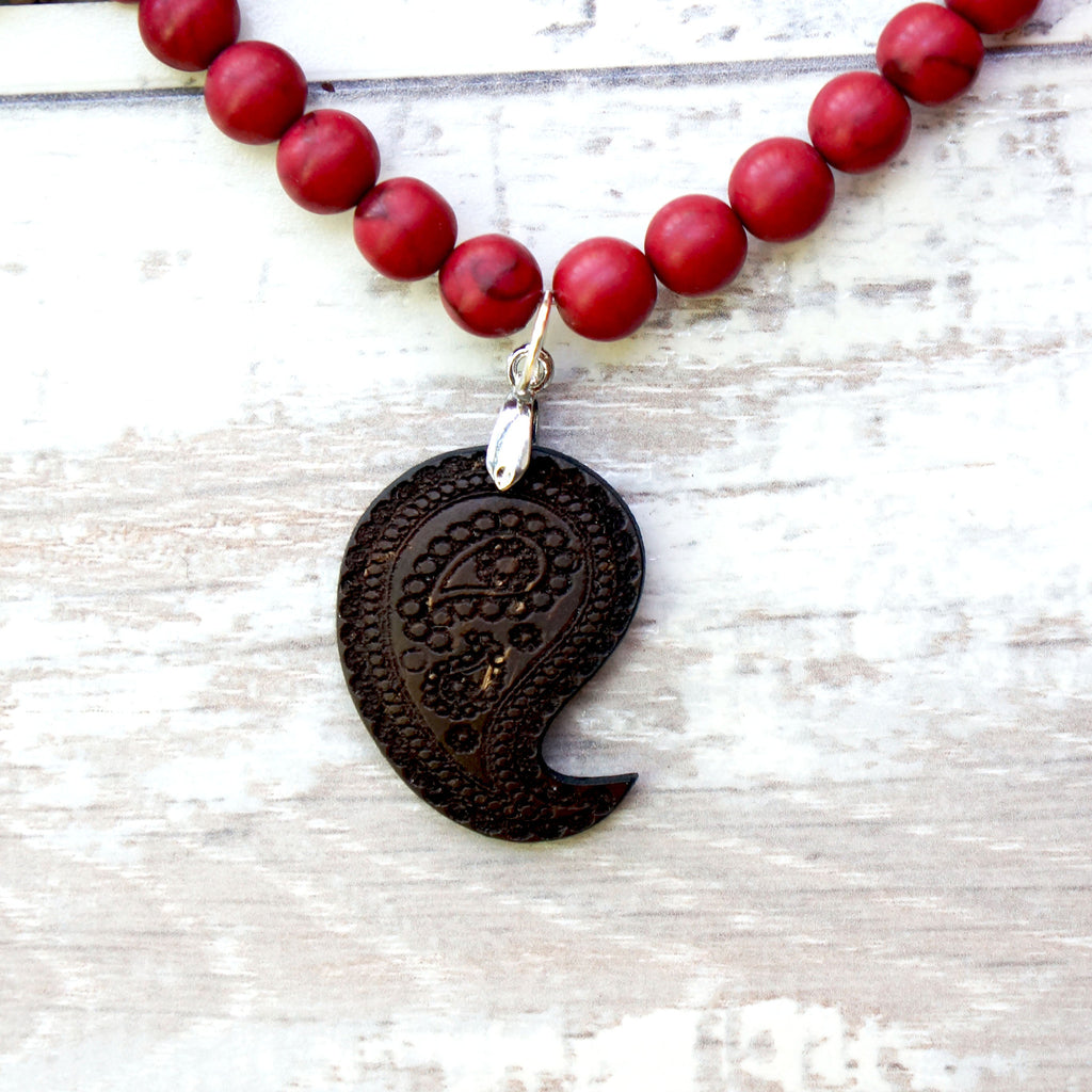 PAISLEY PENDANT NECKLACE - eco chic recycled coconut