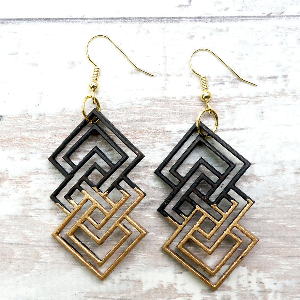 GEOMETRIC UNITY DIPPED GOLD EARRINGS - SustainTheFuture.us - The Natural and Organic Way of Life
