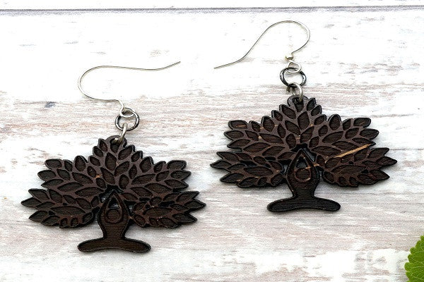 YOGA LOTUS TREE EARRINGS. Recycled coconut shells are cut
