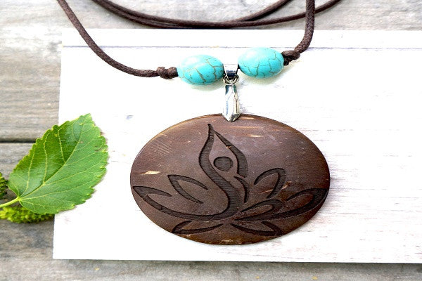 YOGA LOTUS PENDANT NECKLACE - Upcycled and eco chic!