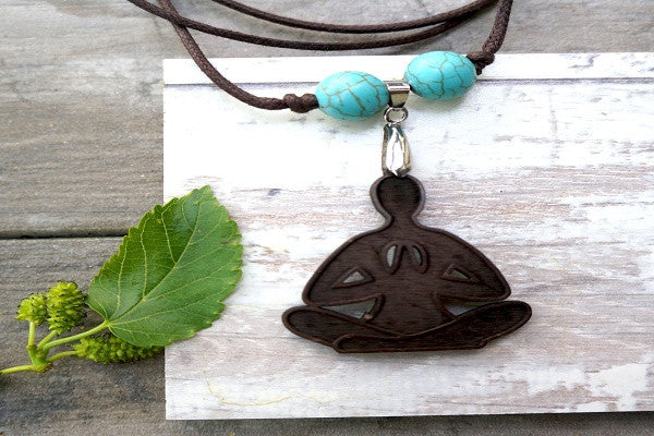 BUDDHA YOGA NECKLACE. Recycled coconut shell