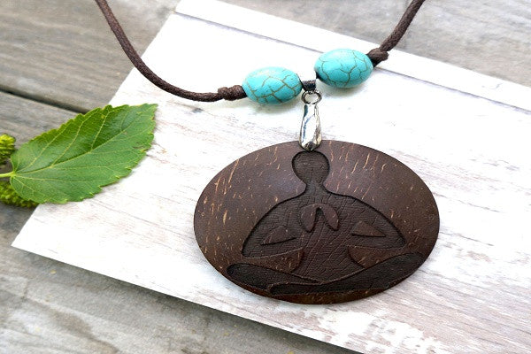 BUDDHIST YOGA NECKLACE - Natural & Recycled.
