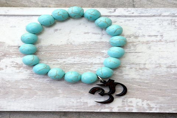 TURQUOISE OM ZEN BRACELET - Clay beads and coconut shell
