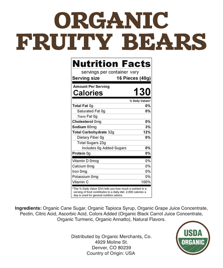 Organic Fruity Bears - 10lb Bag - Gluten Free
