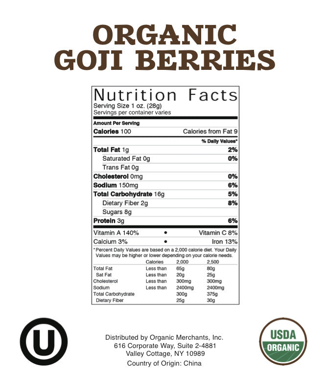 Organic Goji Berries - 11lb Bag - Kosher, NON GMO, RAW, Vegan