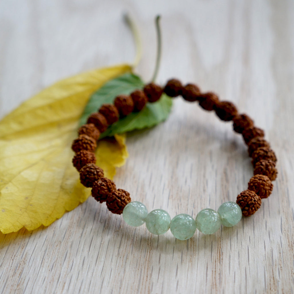 JADE RUDRAKSHA STONE BRACELET. Mix of Jade and rudraksha beads. - SustainTheFuture.us - The Natural and Organic Way of Life