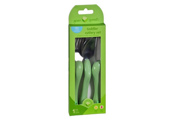 Green Sprouts Toddler Cutlery Set - 3 Piece Set - PVC, BPS and Phthalate Free