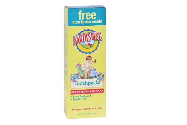 Earth's Best Toddler Toothpaste Strawberry Banana - 1.6 Oz - Gently - SustainTheFuture.us - The Natural and Organic Way of Life
