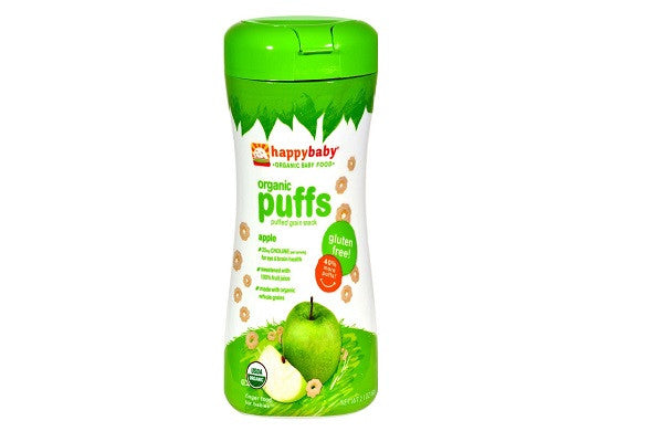 Happy Baby Organic Puffs Apple - 2.1 Oz - Case Of 6 - Sweetened with 100% Fruit Juice