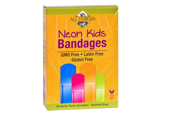 All Terrain Bandages Neon Kids - Assorted - 20 Count - Gluten free and 100% sterile - SustainTheFuture.us - The Natural and Organic Way of Life
