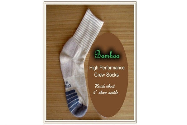 Hi Performance Bamboo Crew Socks-3 Pack - SustainTheFuture.us - The Natural and Organic Way of Life