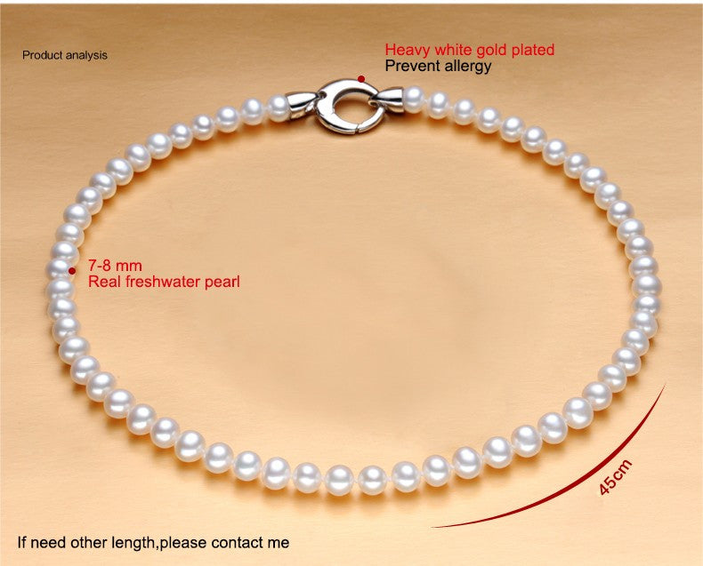 2016 New Fashion 100% natural freshwater pearl necklaces 7-8 mm white natural pearl necklaces gifts for women Jewelry