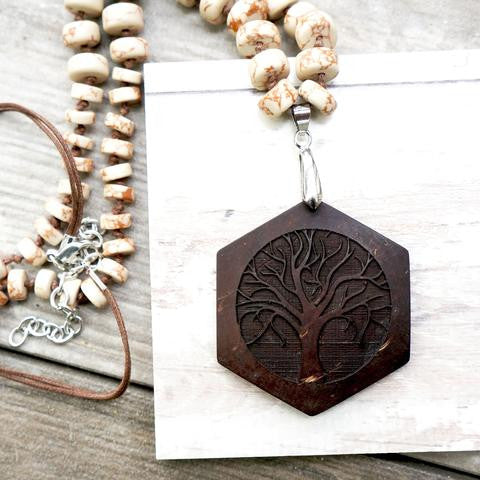 HEXAGON YOGA TREE CARVED NECKLACE - Color: Natural Brown & Silver - Coconut Shells - SustainTheFuture.us - The Natural and Organic Way of Life