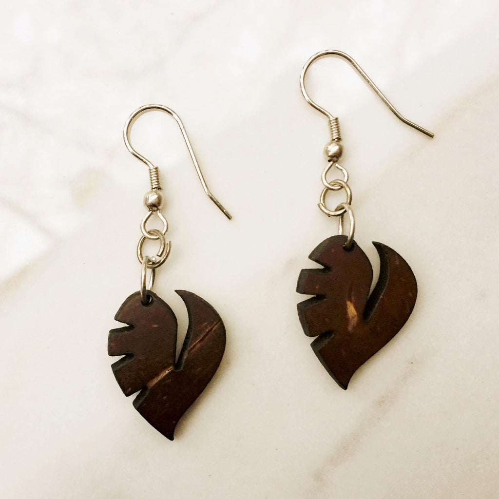 Banana Leaf Earrings - are handmade with coconut shells. - SustainTheFuture.us - The Natural and Organic Way of Life