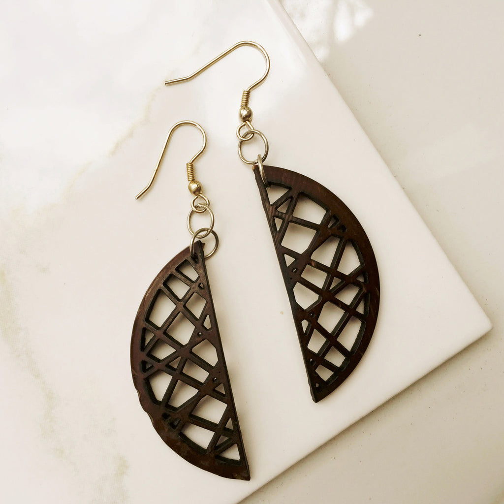 CRESCENT WOOD EARRINGS. Recycled coconut shells