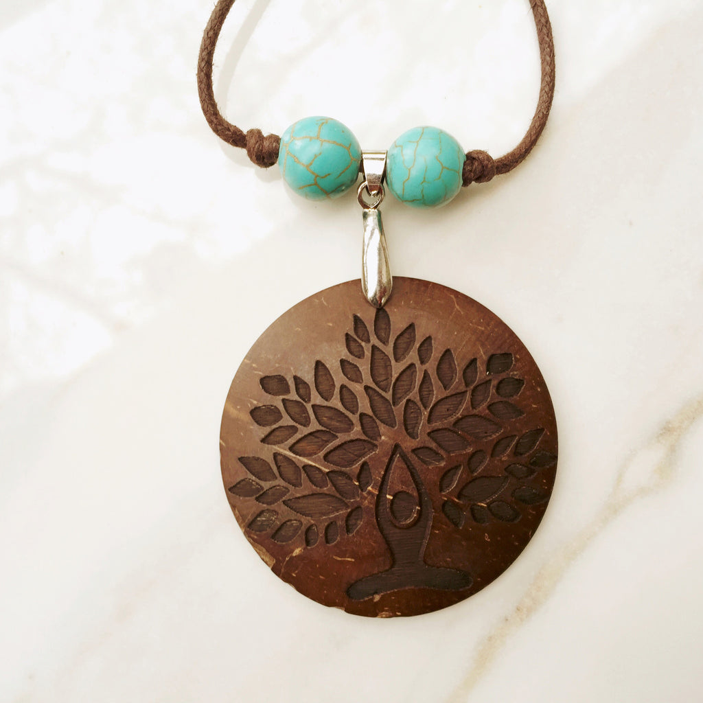 YOGA NECKLACE - LOTUS TREE PENDANT -  Natural & Recycled