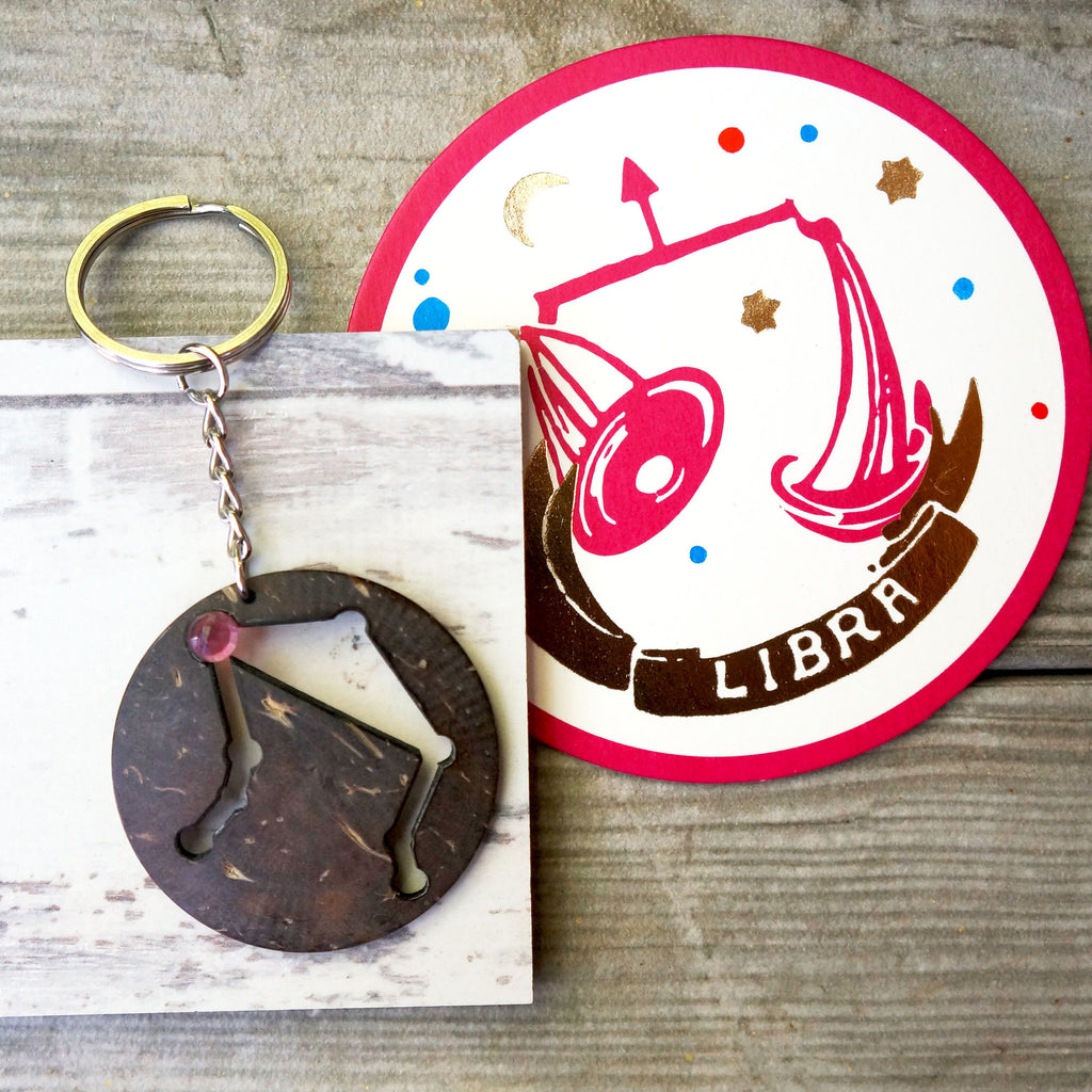 Libra Zodiac Keychain - The Libra is an Air sign - SustainTheFuture.us - The Natural and Organic Way of Life