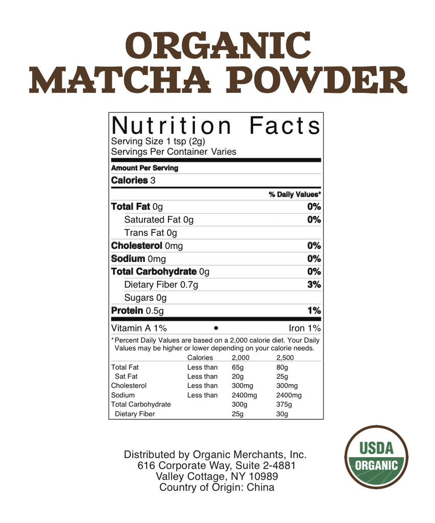 Organic Matcha Green Tea Powder - 5lb Bag - Kosher, NON GMO, Gluten Free