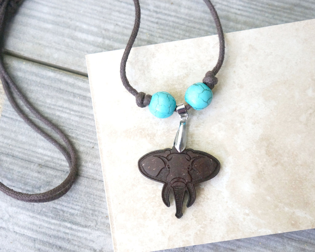 Elephant Pendant Necklace.  is made out of recycled coconut shells - SustainTheFuture.us - The Natural and Organic Way of Life