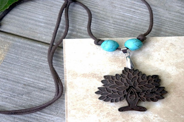 YOGA NECKLACE - LOTUS TREE. Recycled coconut shells