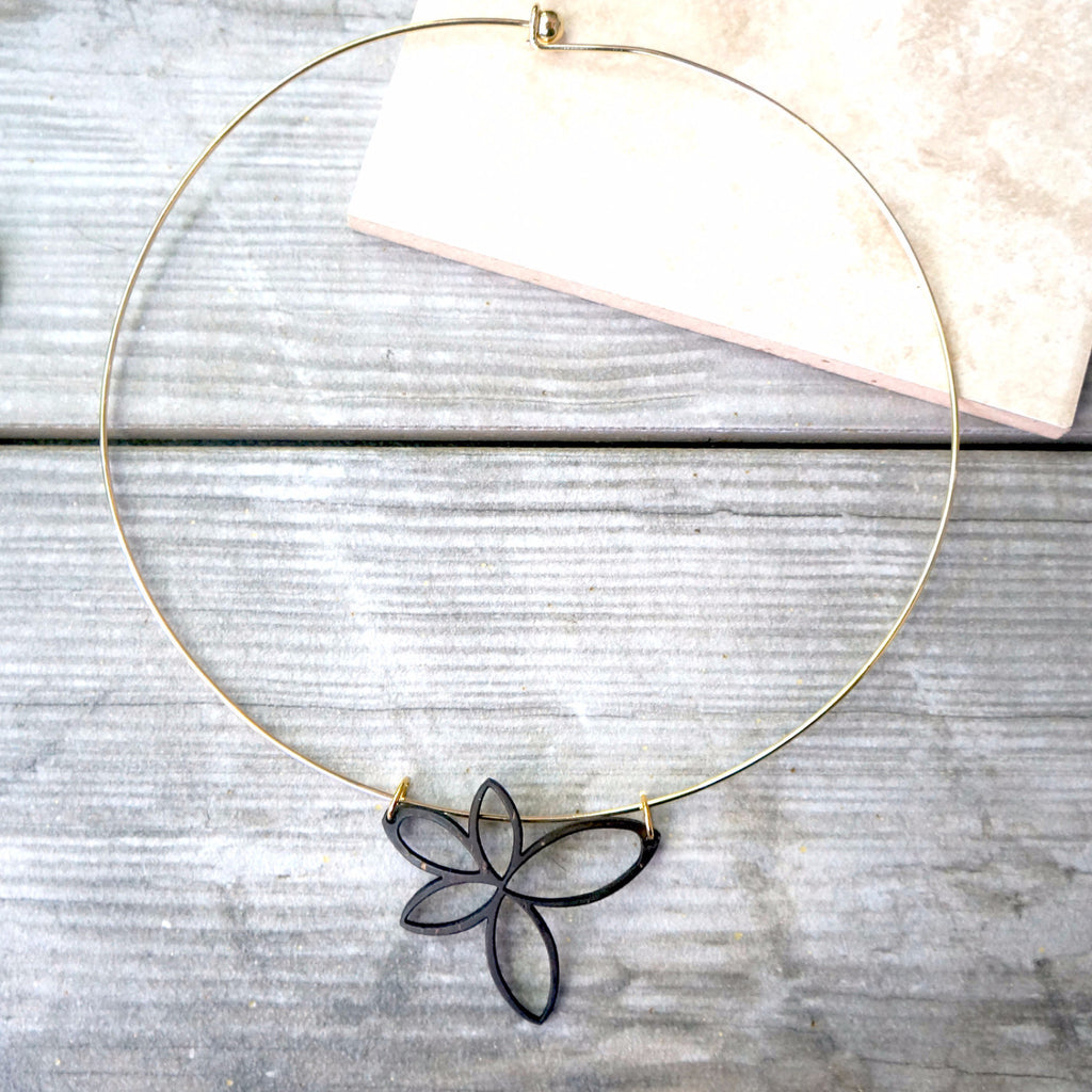 Laser Cut Flower Necklace.  It is super lightweight and beautiful.