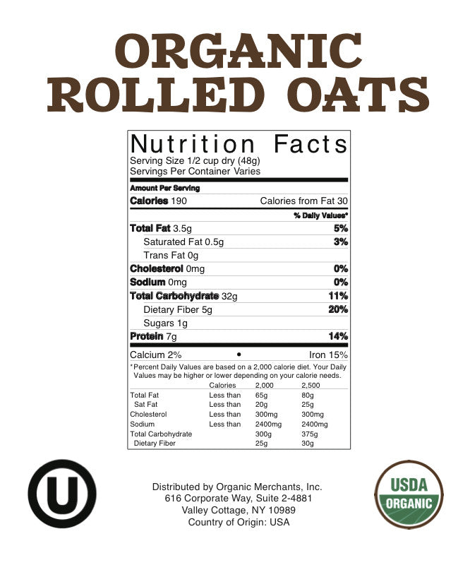 Organic Rolled Oats - 3lb Bag - Kosher, NON GMO, Gluten Free