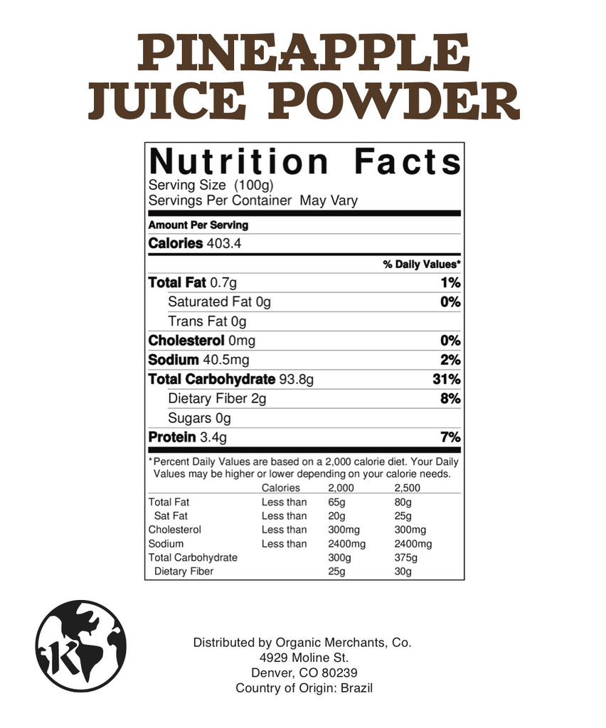 Natural Pineapple Juice Powder - 1lb Bag - Kosher, NON GMO, Gluten Free, Vegan - SustainTheFuture.us - The Natural and Organic Way of Life