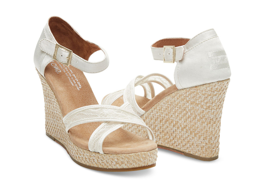 PLATINUM GROSGRAIN LACE WOMEN'S STRAPPY WEDGES