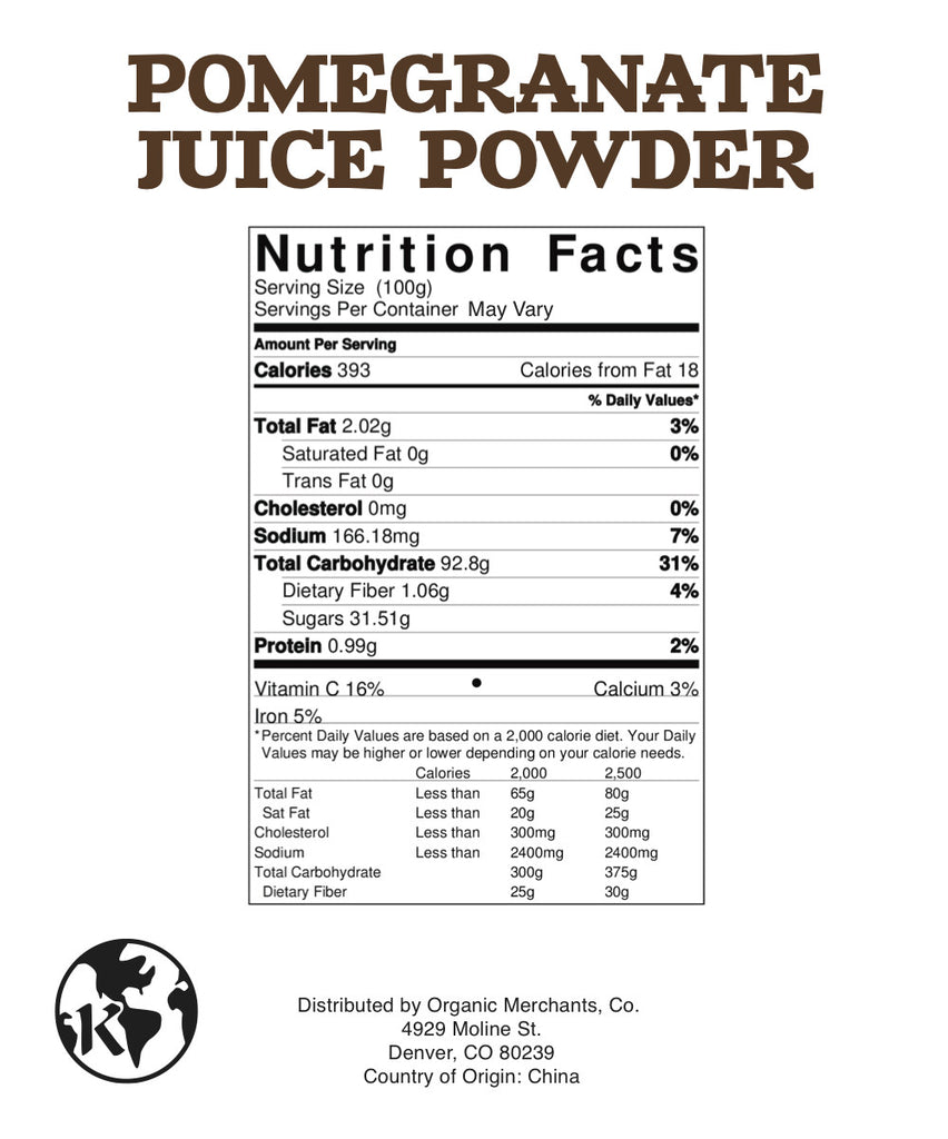 Natural Pomegranate Juice Powder - 4oz Package - Kosher, NON GMO, Gluten Free, Vegan - SustainTheFuture.us - The Natural and Organic Way of Life