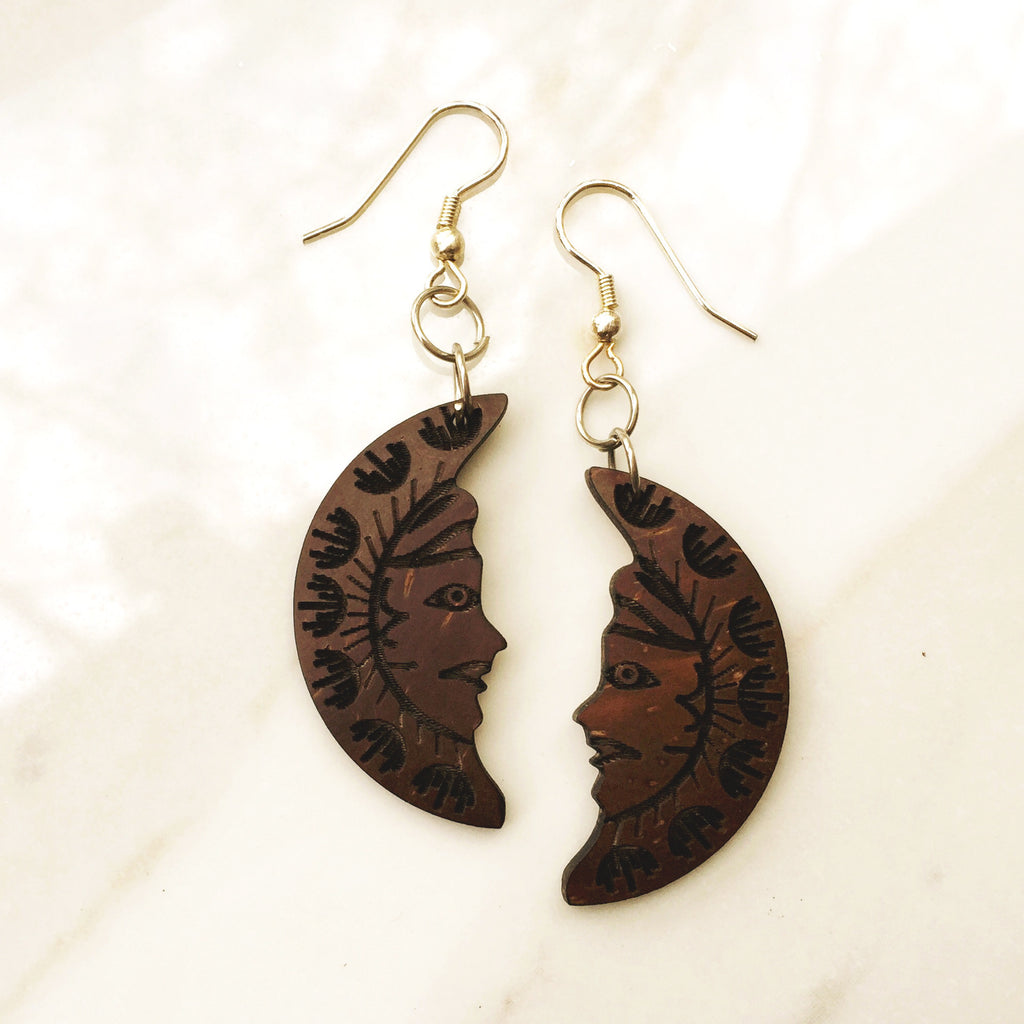 COCONUT MOON EARRINGS.  cut into the shape of a beautiful crescent moon.