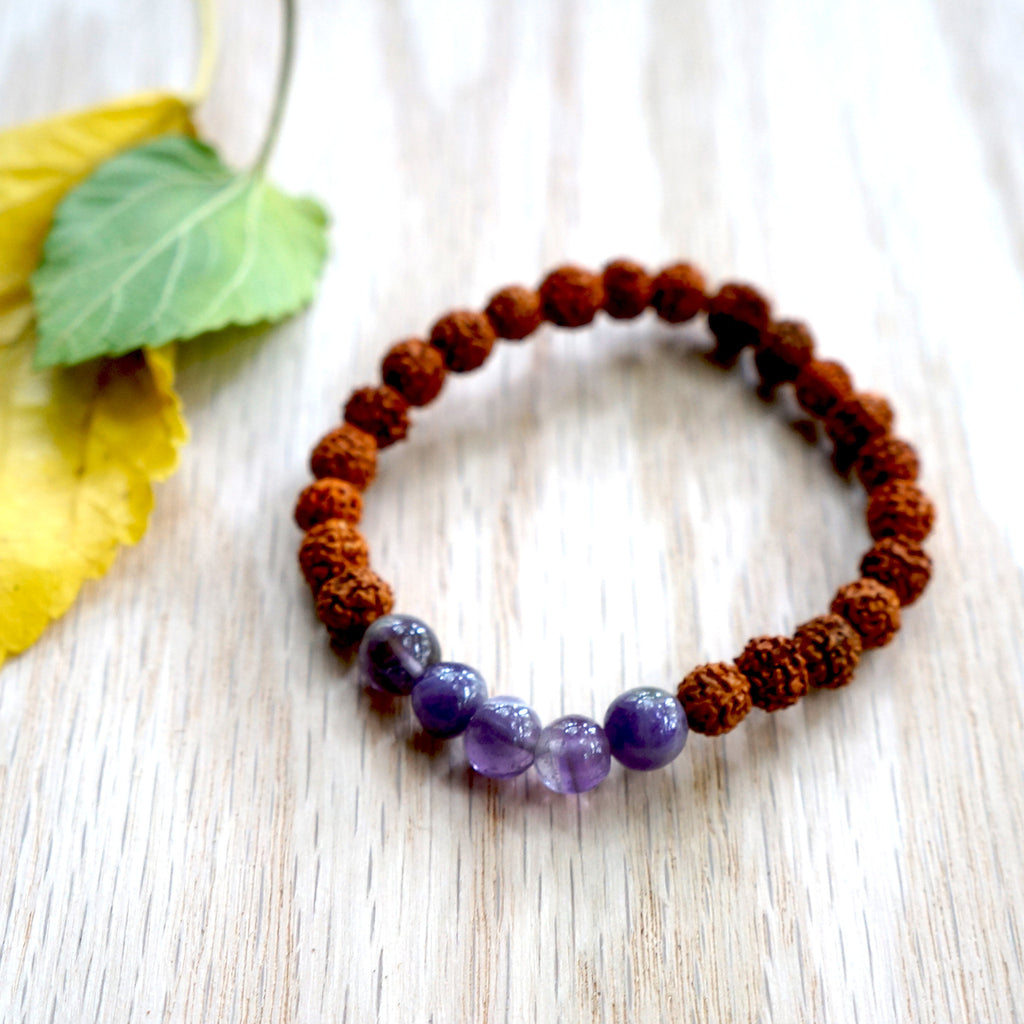 AMETHYST RUDRAKSHA STONE BRACELET. Color: shades of red and Purple - SustainTheFuture.us - The Natural and Organic Way of Life
