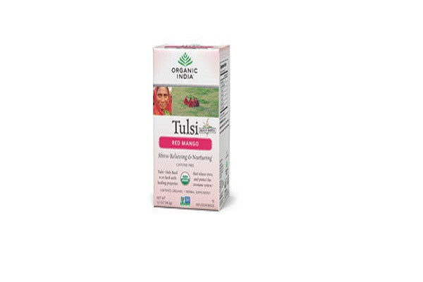 ORGANIC INDIA Tulsi Red Mango Tea - USDA Certified Organic
