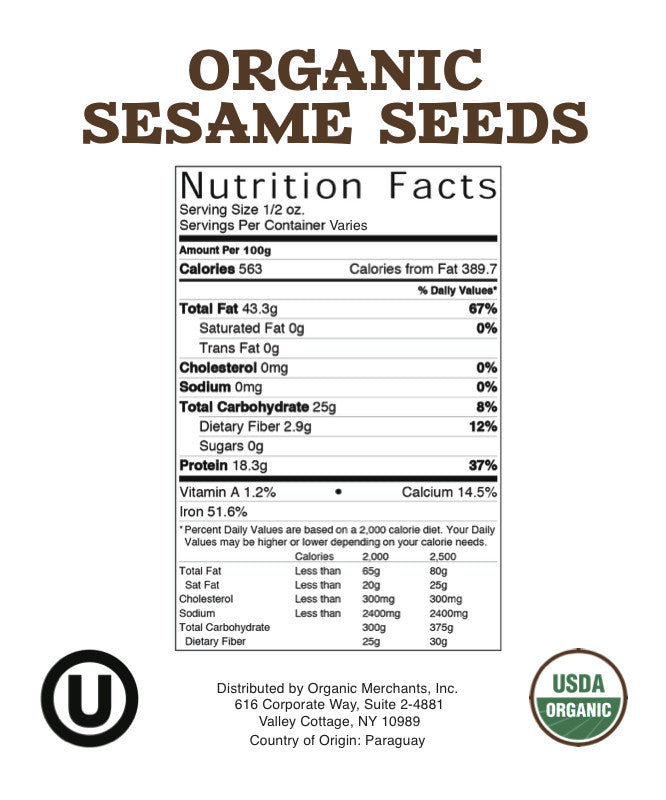 Organic Hulled Toasted Sesame Seeds - 12lb Bag - Kosher, NON GMO, Gluten Free