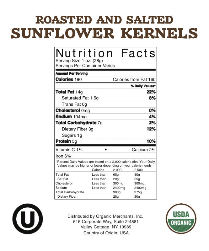 Organic Shelled Roasted Salted Sunflower Kernels - 55lb Bag - Kosher, NON GMO, Gluten Free