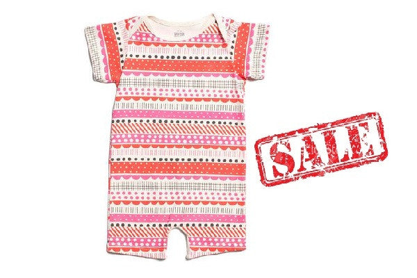 ORGANIC SUMMER ROMPER - PINK GEOMETRIC STRIPES - 100% Organic Cotton