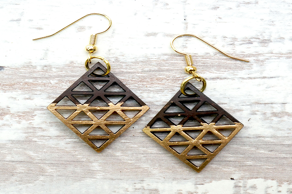 Coconut Dipped Diamond Gold Earrings - SustainTheFuture.us - The Natural and Organic Way of Life