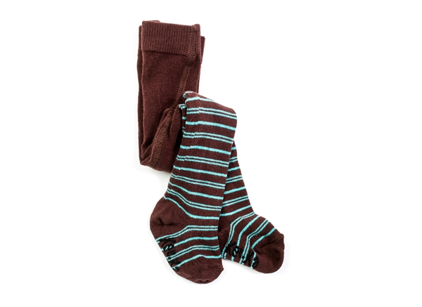 Organic Baby Tights - Turquoise and Chocolate