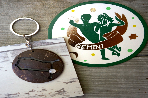 Gemini Zodiac Keychain - Gemini is versatile, inquisitive. - SustainTheFuture.us - The Natural and Organic Way of Life