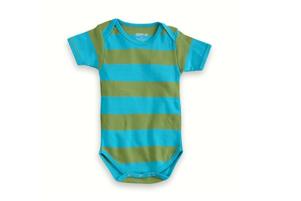 Organic Baby Clothes - T-Shirt Baby Body - Turquoise Green Stripe